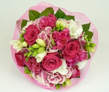 Bright pink and white flower posy. Free Delivery from our Takapuna Florist North Shore Auckland.