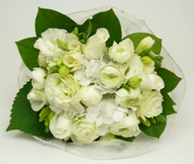 pretty white baby flower posy. Free Delivery North Shore Maternity Hospital.