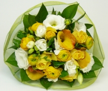 cheerful yellow baby boy flower posy. Free Delivery North Shore Maternity Hospital