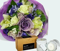 Flower posy and Candles Birthday Gift Set.