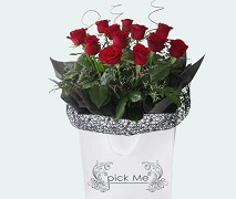 Dozen red roses in vox. FREE Delivery North Shore Auckland.