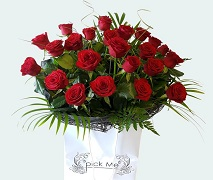 Vox bouquet of 24 Red Roses. FREE Delivery Auckland