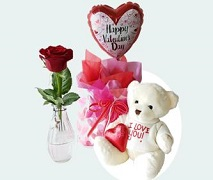 Gift Box with I Love You Bear, Red Rose and Chocolate Hearts. FREE Delivery Auckland Wide.