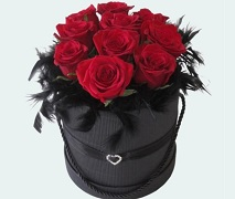 10 fresh red roses in a heart hat box. FREE Delivery Auckland Wide.