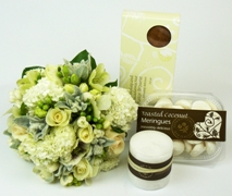 Gift set with posy of white and cream flowers. Free Delivery North Shore Auckland.