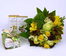 Gift set with pretty flower posy, chocolates and soap. Free Delivery North Shore Auckland Wide.